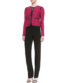 St. John Collection Crossed Throw Knit Jacket, Rib Knit Fine Gauge Scoop-Neck Sleeveless Shell & Crepe Marocain Straight Leg Diana Pants