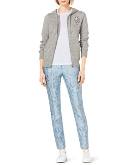 Michael Kors  Crystal-Encrusted Cashmere-Cotton Knit Hoodie, Compact Short-Sleeve Crewneck Tee, Samantha Paisley-Print Slim Pants, Crystal Brooch & Valin Sneaker