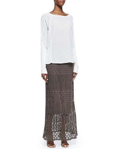 Long-Sleeve Crepe Blouse & Cecilia Crochet Skirt