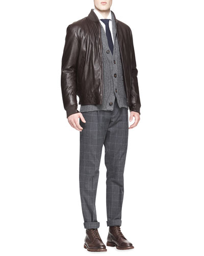 Brunello Cucinelli Leather Thermore Bomber Jacket, Button-Down Shirt & Single-Pleat Windowpane Pants
