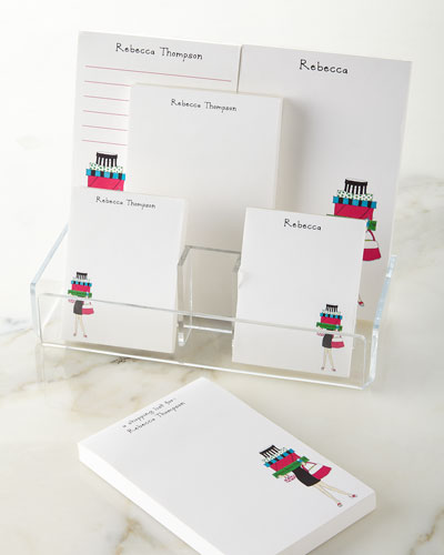Shopping Girl Notepad Set & Acrylic Holder
