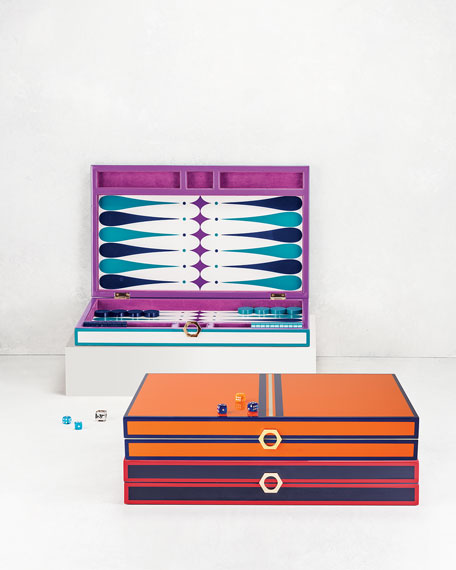 Orange Lacquer Backgammon Set