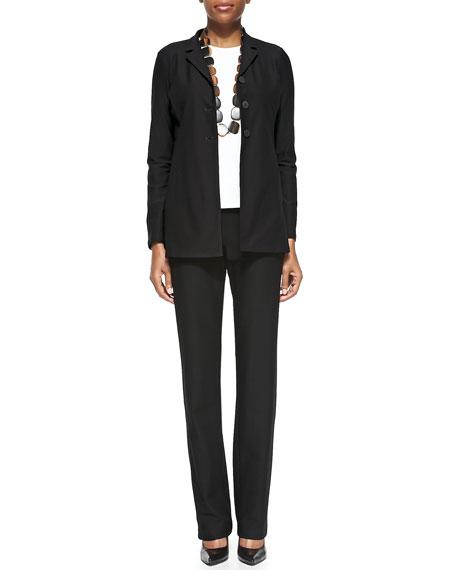 Eileen Fisher Washable-Crepe Boot-Cut Pants, Black