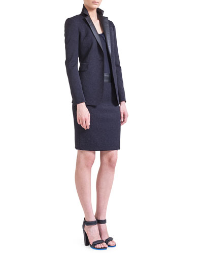 Akris punto One-Button Jacket with Faux-Leather Lapels, Chiffon Petal Tank & Jacquard Pencil Skirt with Faux-Leather Waistband