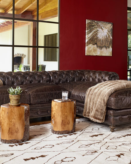 """Warner Leather Collection 90"""" Chesterfield Sofa"""
