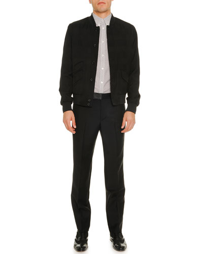 Textured Nylon Bomber Jacket, Mini-Skull Short-Sleeve Poplin Shirt & Wool/Mohair Trousers