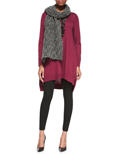 Eileen Fisher Merino Jersey Layering Dress, Viscose Jersey Leggings & Eco Pebble Box Scarf, Petite