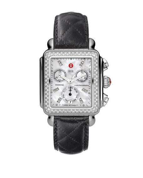 18mm Deco Diamond Watch Head, Steel