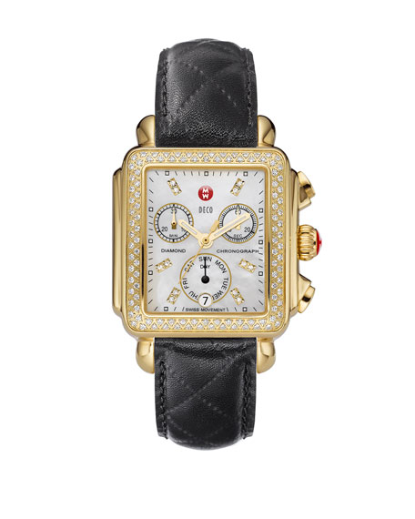 18mm Deco Diamond Watch Head, Gold