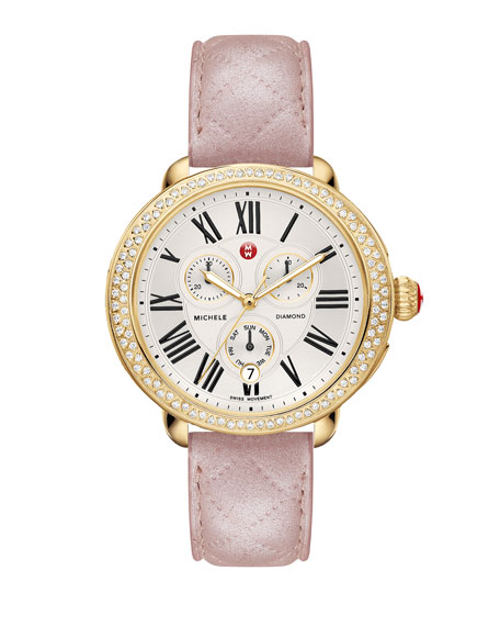 MICHELE 18mm Pearl Quilted Leather Watch Strap, Pink