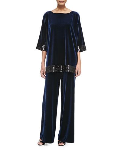 Velour Sequin-Trimmed Tunic & Velour Wide-Leg Pants, Petite