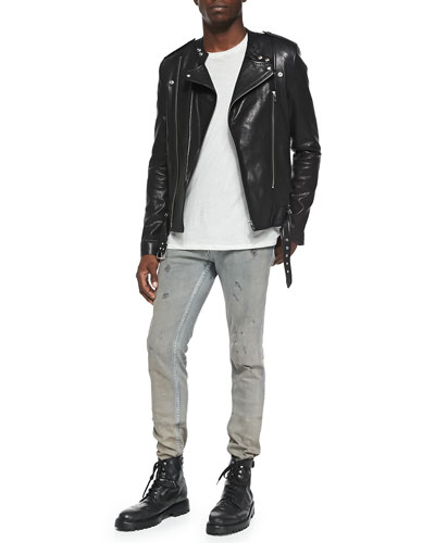 Hydo Leather Biker Jacket, Sama Slub-Jersey Tee & Nygel Slim-Fit Distressed Jeans