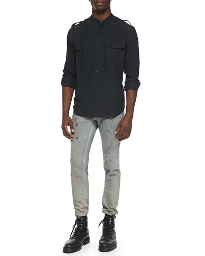 Azaf Band-Collar Military Shirt & Nygel Slim-Fit Distressed Jeans