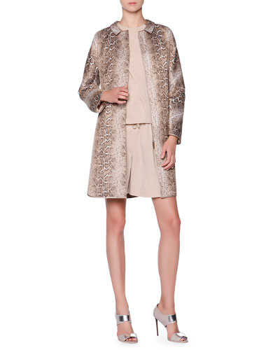 Snakeskin-Design Jacquard Topper, Front-Panel Draped Top & Pleated Linen-Blend Bermuda Shorts