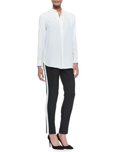 Winton Organza-Inset Tunic & Double-Weave Wool Diane Pants