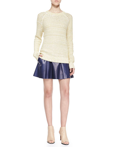 Mixed-Knit Rib-Trim Sweater & Drop-Yoke Pleated Leather Skirt