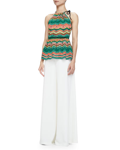 Zigzag Striped Halter Top & Full Wide-Leg Pants
