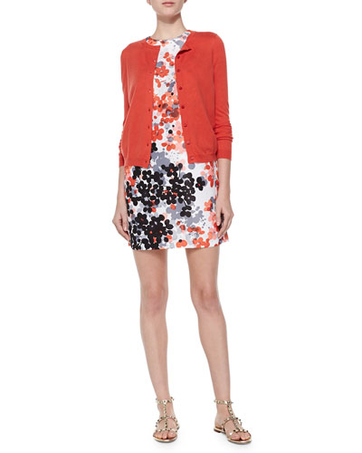 Cashmere-Silk Cropped Cardigan & Abstract Floral-Print Dress