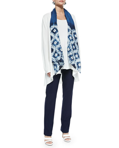 Long Knit High-Low Cardigan, Long Silk Jersey Tunic, Silk Shibori Ogee Scarf & Washable-Crepe Boot-Cut Pants, Women