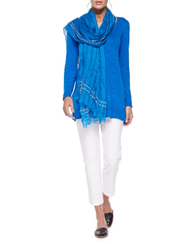 Organic Linen/Cotton Slub V-Neck Tunic, Airy Grid-Striped Linen/Wool Scarf & Washable Stretch-Crepe Ankle Pants, Petite
