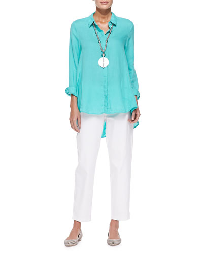 Organic Handkerchief Linen Shirt & Organic Stretch Twill Slim Ankle Pants, Petite