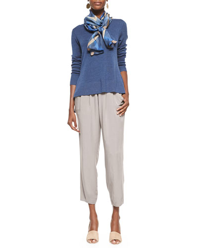 Long-Sleeve Ultrafine Merino Top, Shibori Rhombus Silk Scarf & Slouchy Silk Ankle Pants