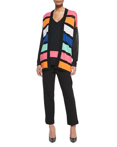 Striped Long Open Cardigan, Striped-Hem Sweater Tank & Slim Ponte Ankle Pants, Women's
