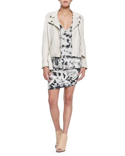 Belted Leather Moto Jacket, Frankie Tie-Dyed Muscle Tee & Tie-Dyed Skirt W/ Ruched Side