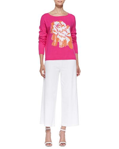 Joan Vass Sequined Floral Dolman-Sleeve Sweater & Wide-Leg