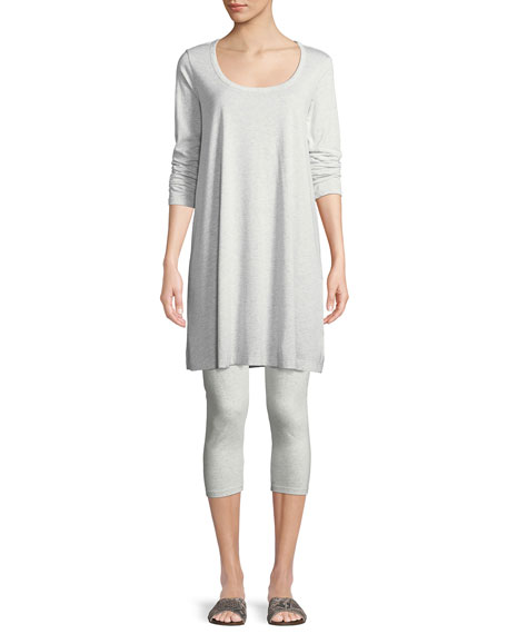 Joan Vass Scoop-Neck Long-Sleeve Tunic