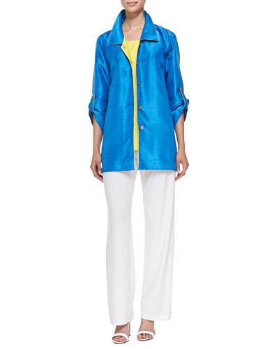 Colorblock Shantung Tab Shirt, Solid Tank & Stretch-Knit Straight-Leg Pants, Petite