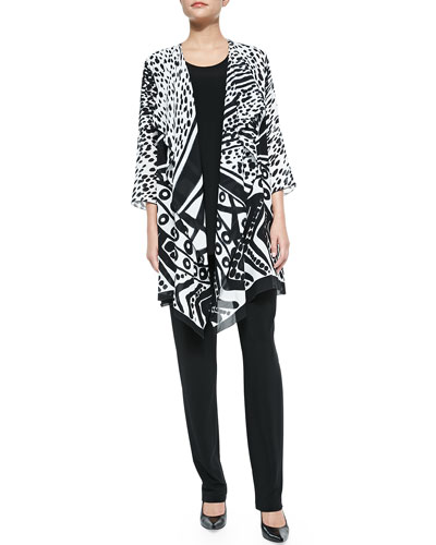 Spots and Dots Georgette Jacket, Knit Tunic/Tank & Stretch-Knit Slim Pants, Women's