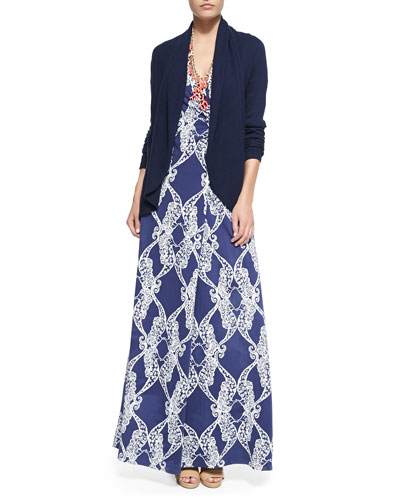 Hayden Open Cardigan, Good Reef Coral Necklace & Yvette Printed Faux-Wrap Maxi Dress