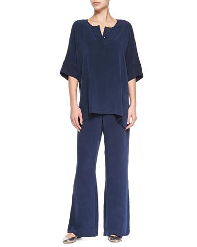 Silk Dolman-Sleeve Tunic & Silk Full-Leg Pants