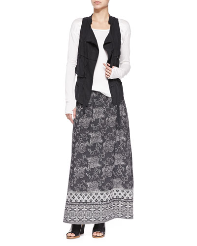 Silk Cargo Drawstring Vest & Silk Printed Long Skirt