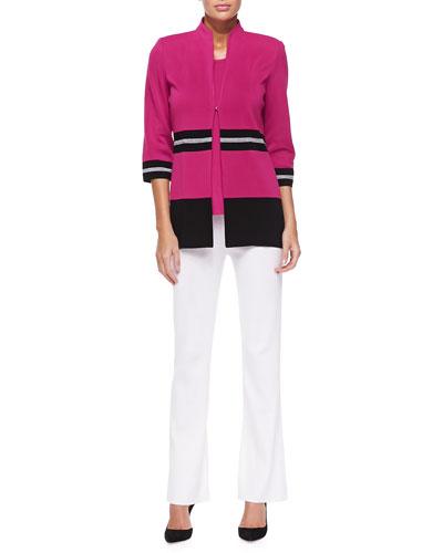 Striped-Trim 3/4-Sleeve Jacket, Sleeveless Long Tank & Boot-Cut Knit Pants