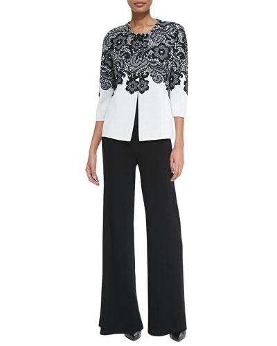 3/4-Sleeve Lace-Print Jacket, Scoop-Neck Knit Tank & Washable Wide-Leg Pants, Petite