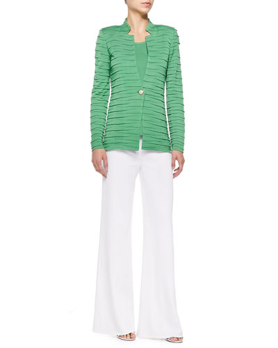 Sliced One-Button Jacket, Scoop-Neck Knit Tank & Wide-Leg Pants, Petite
