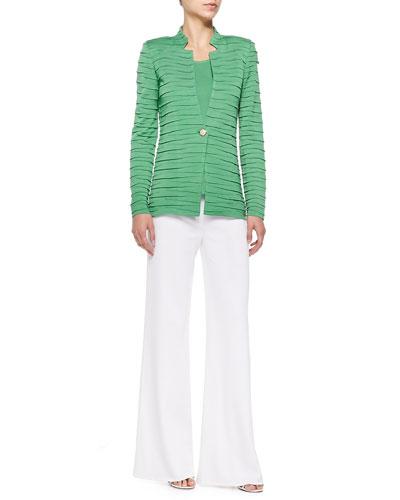 Sliced One-Button Jacket, Scoop-Neck Knit Tank & Wide-Leg Pants, Petite