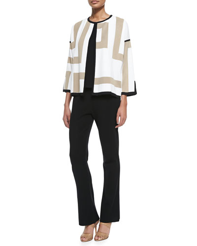 New Geometric 3/4-Sleeve Jacket, Scoop-Neck Layering Tank & Boot-Cut Knit Pants, Petite
