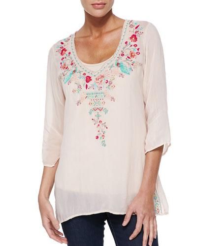 Priscilla Embroidered Tunic & Scoop-Neck Cotton Tank, Women's