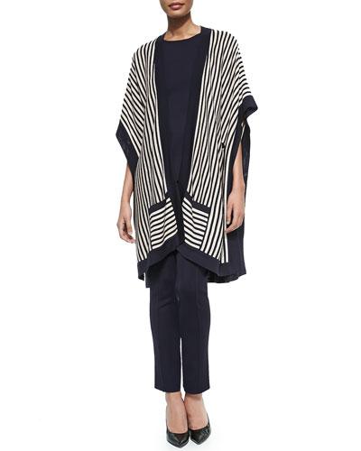 Striped Open Kimono Cardigan, Sleeveless Long Tank & Seamed Slim Pants