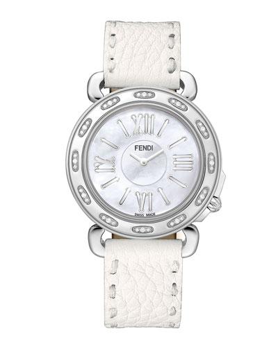 37mm Fendi Selleria Stainless Steel Diamond Watch Head & Leather Strap