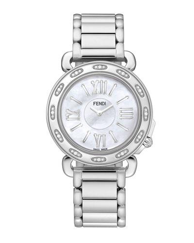 37mm Fendi Selleria Stainless Steel Diamond Watch Head & Stainless Steel Bracelet