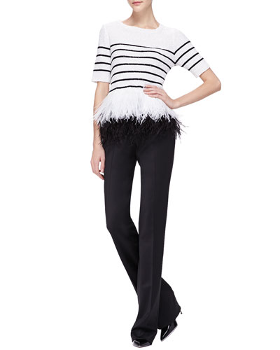 Sequined Feather-Hem Top & Stretch-Wool Twill Slim Pants