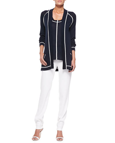 Cardigan with Contrast Trim, Knit Tank & Skinny Pants W/ Side Zip