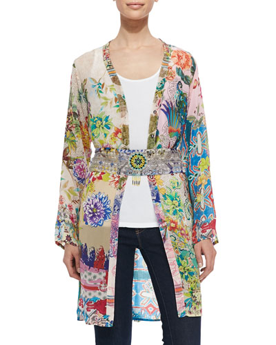 Ambiance Floral-Print Georgette Cardigan, Scoop-Neck Cotton Tank & Medallion Printed Obi Belt, Women's