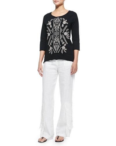 Mariko 3/4-Sleeve Embroidered Sweatshirt & Linen Wide-Leg Crochet Pants, Women's
