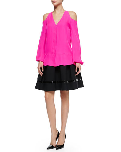 Silk Cold-Shoulder Blouse & Patent Leather-Trimmed Flared Skirt