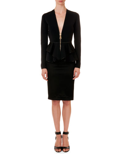 Satin-Trim Ruffle Jacket & Crepe Pencil Skirt